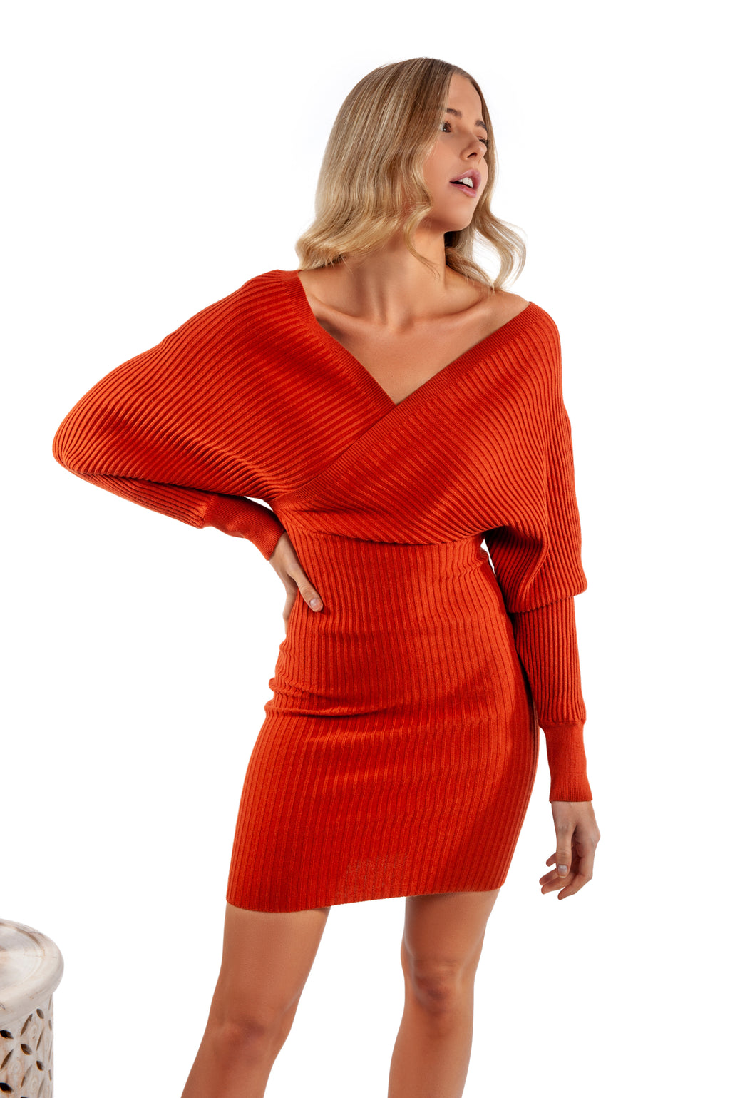 Cassidy Knit Dress - Rust - Islandlace