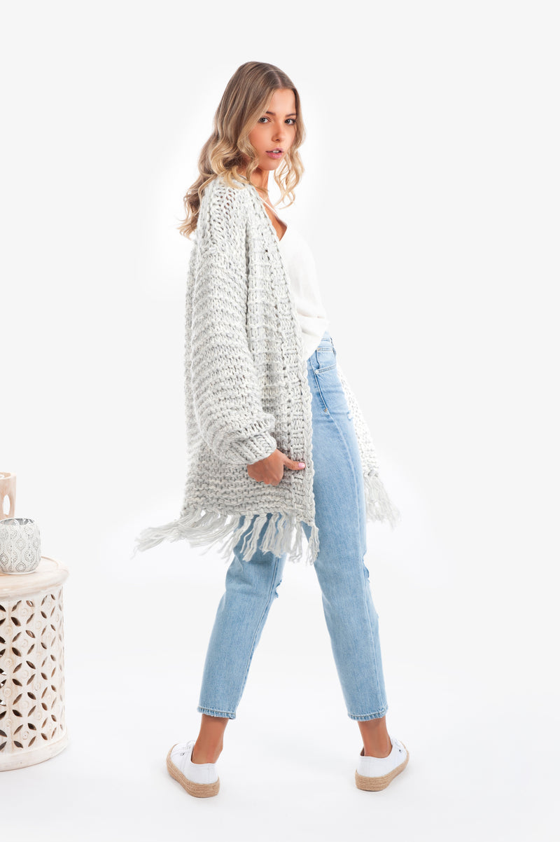 Eva Chunky Knit Cardigan - Grey - Islandlace