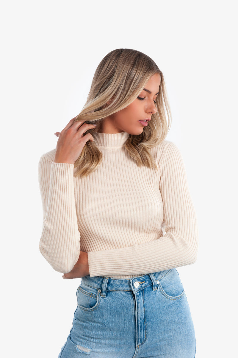 Aliya Knit Top - Beige - Islandlace