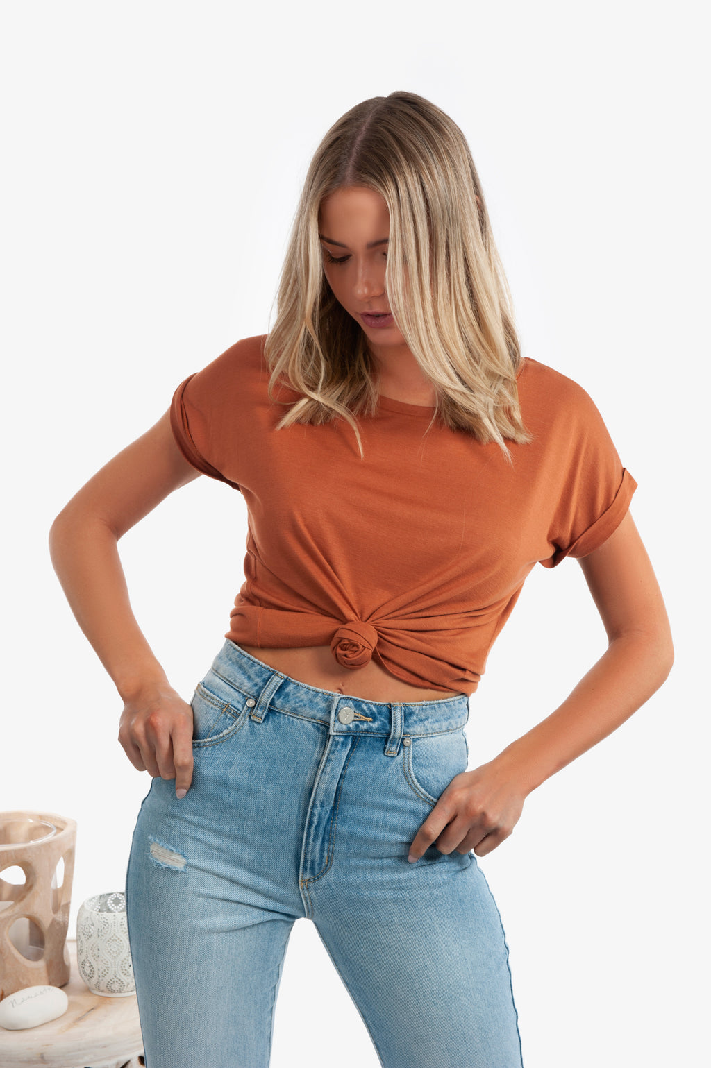 Catie Basic Roll Sleeve Tee - Rust - Islandlace