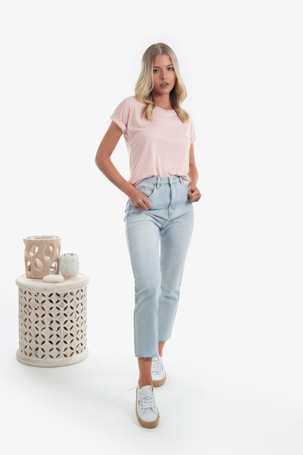 Catie Basic Roll Sleeve Tee - Pink