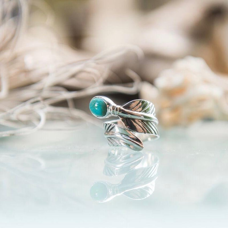 Turquoise Feather Wrap Ring - 925 Sterling Silver - Islandlace