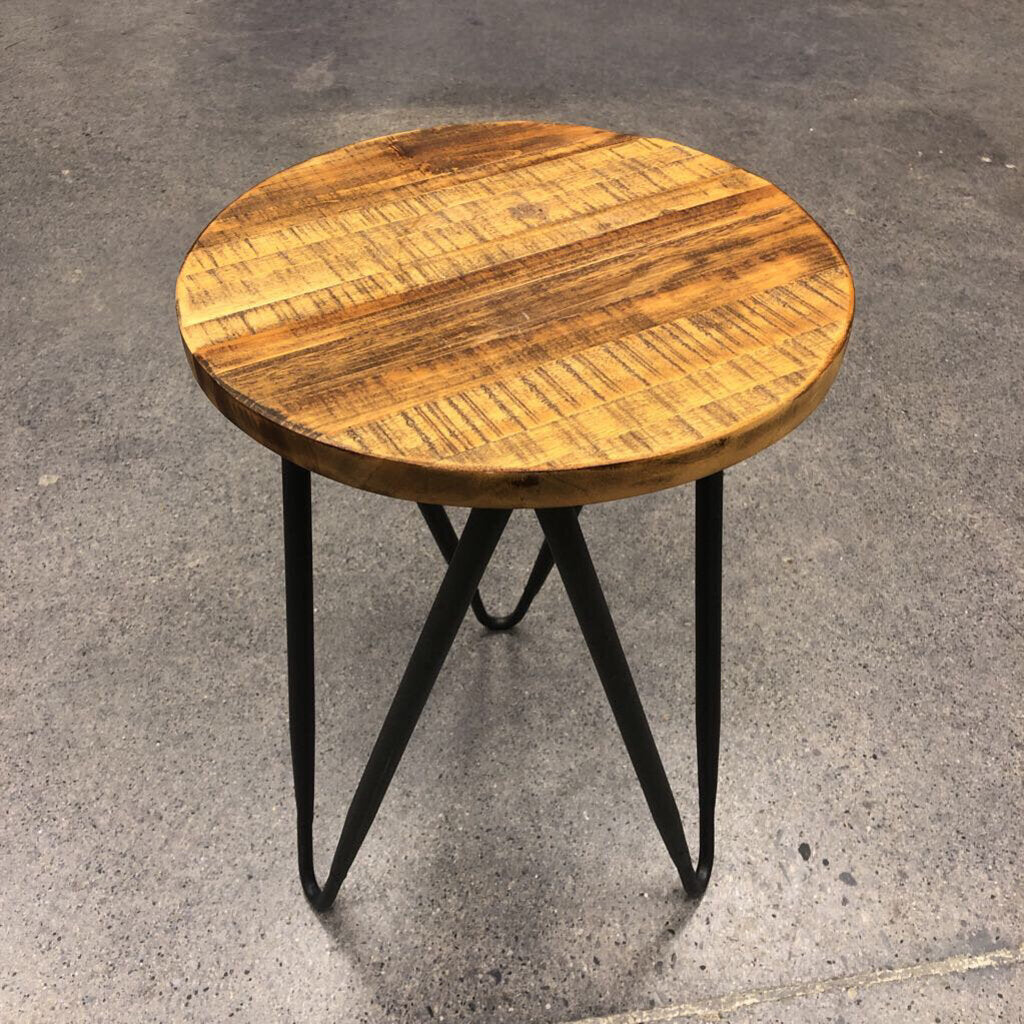 Wood Metal Side Table