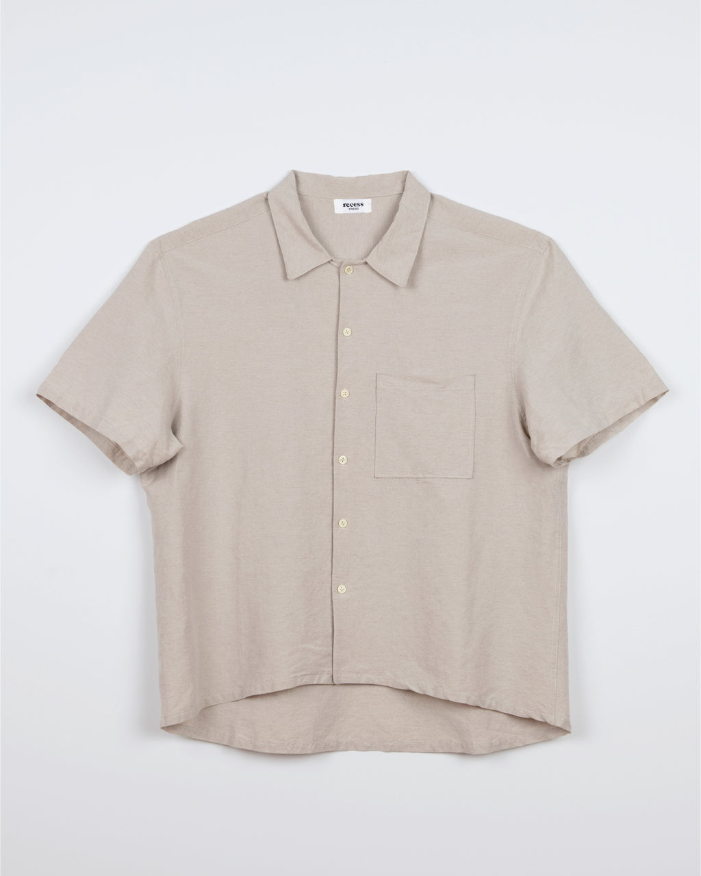 Beige Short Sleeve Button Up