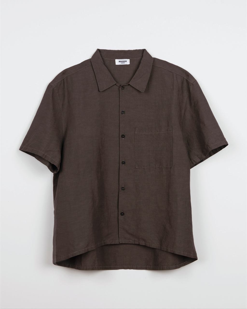 Brown Short Sleeve Button Up