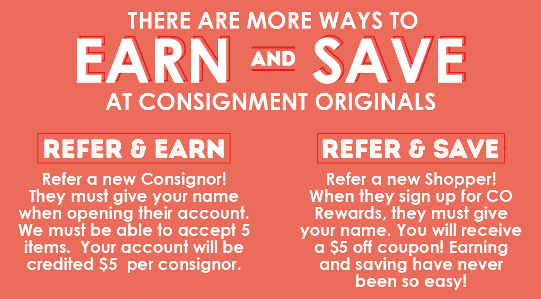 Earn and Save with Consignment Originals