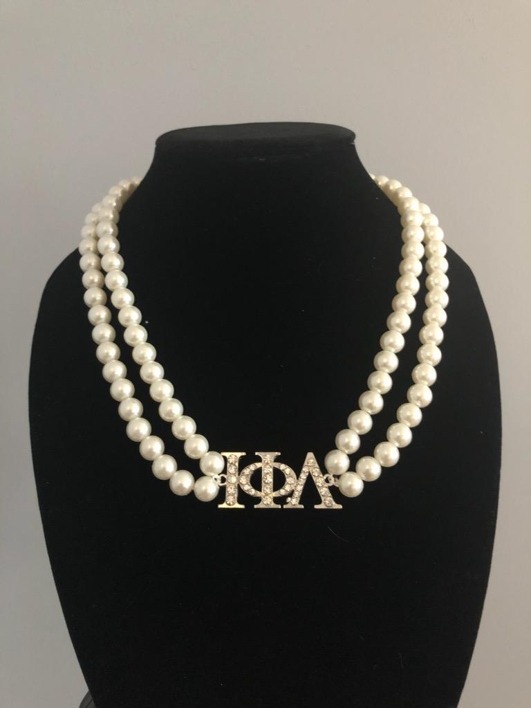 Iota Phi Lambda ΙΦΛ Pearl Necklace with Greek Letters