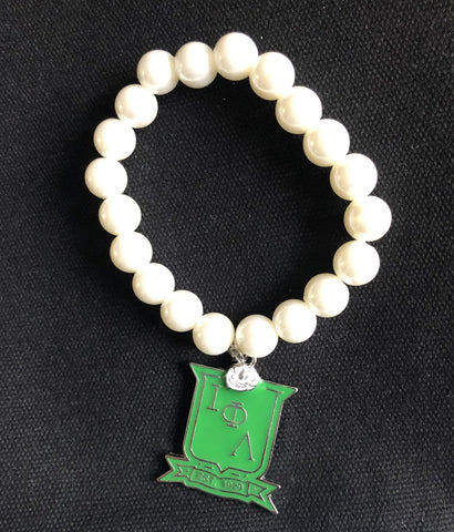 Iota Phi Lambda ΙΦΛ Stretch Pearl Bracelet with Green Enamel Shield