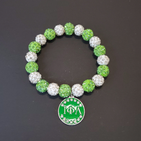 Iota Phi Lambda (ΙΦΛ) Sorority Greek Letter Beaded Bracelet Green/White