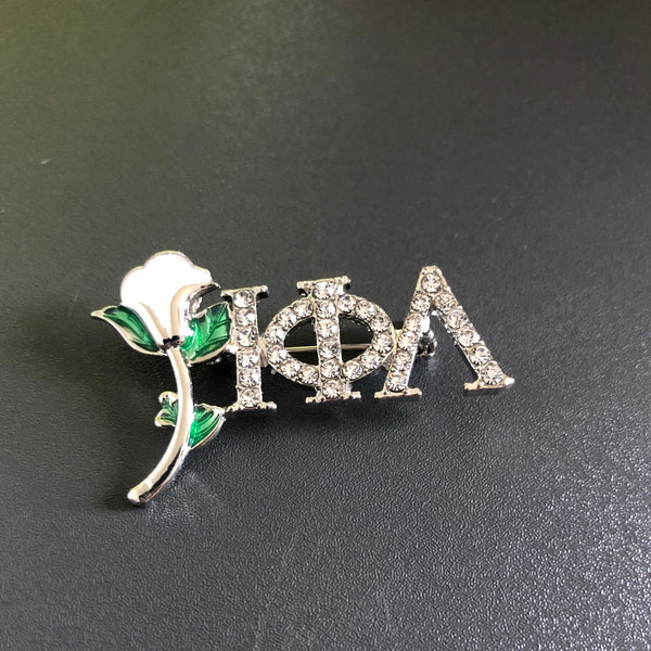 White Rose with ΙΦΛ Rhinestone Lapel Pin/Brooch