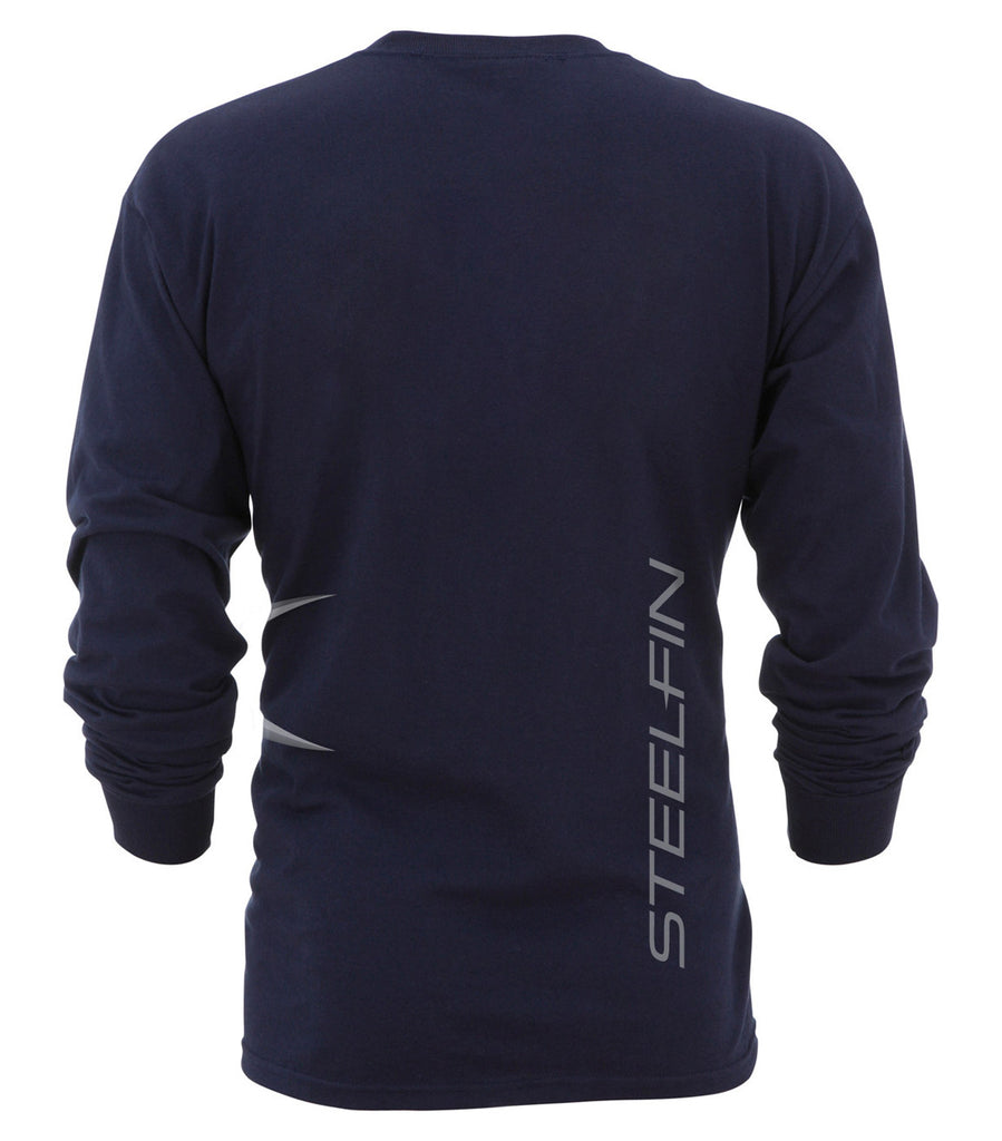 Steelfin Long Sleeve Logo Tee – Navy
