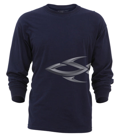 Steelfin Long Sleeve Logo Tee - Navy