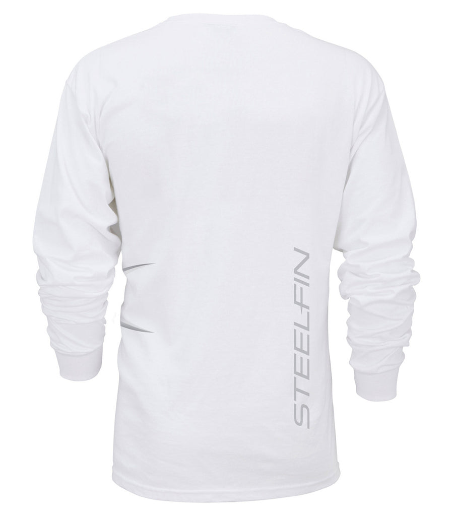 Steelfin Long Sleeve Logo Tee – White