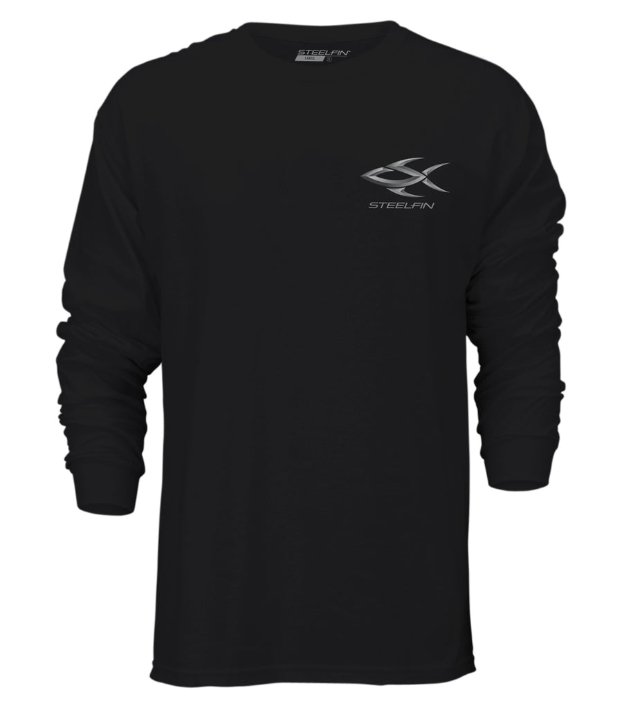 Steelfin Long Sleeve Striper Tee – Black
