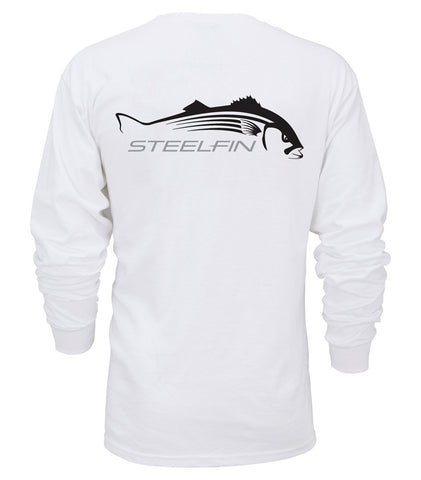 Steelfin Long Sleeve Striper Tee - White