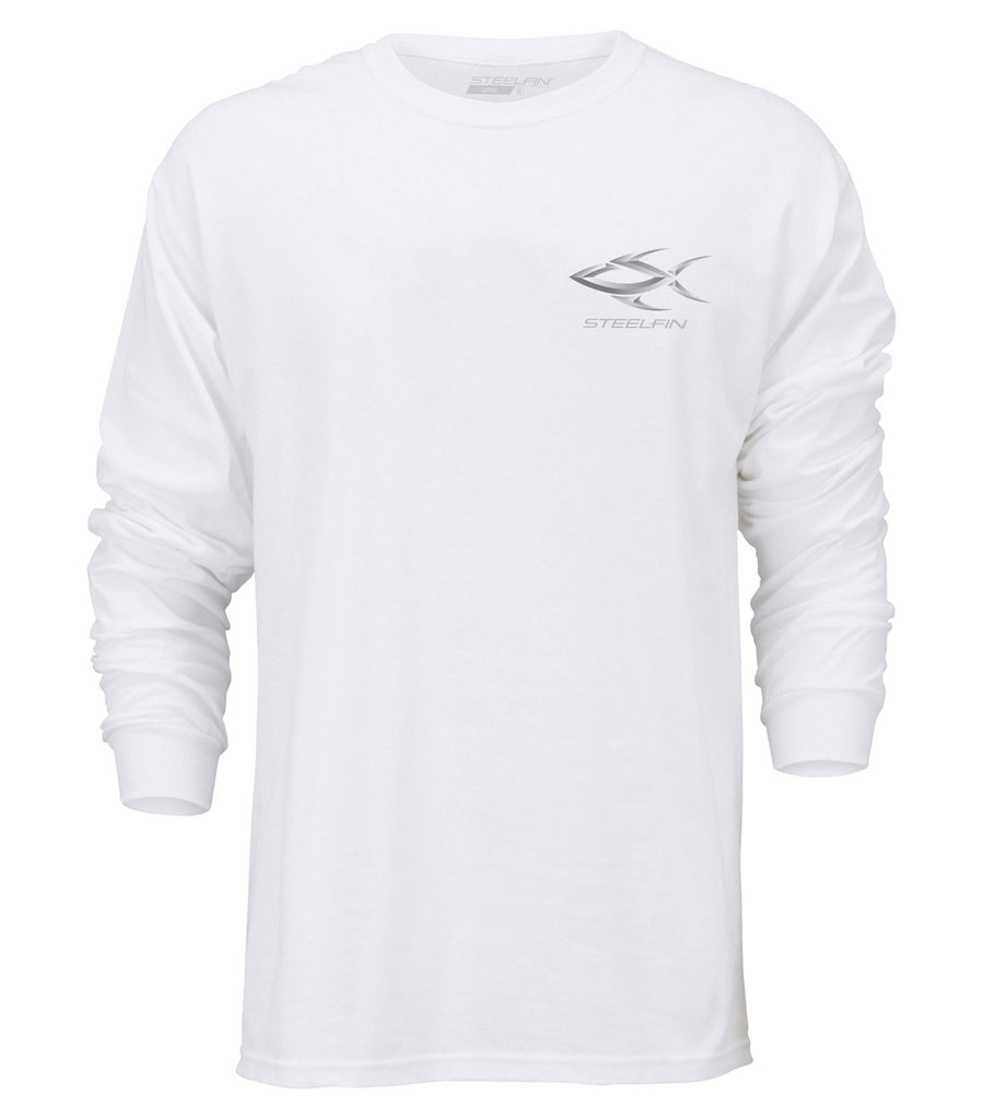 Steelfin Long Sleeve Striper Tee – White