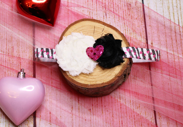 BW Heart Headband