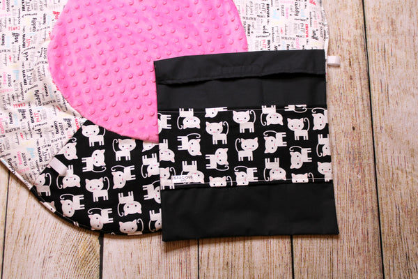 Cat Black and White Travel Playmat