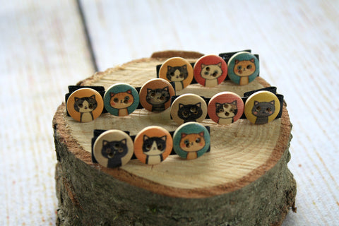 Cat Colour Button Hair Clips