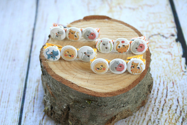 Cat White Button Hair Clips