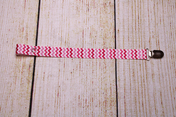 Cheveron Pinks Pacifier Clip