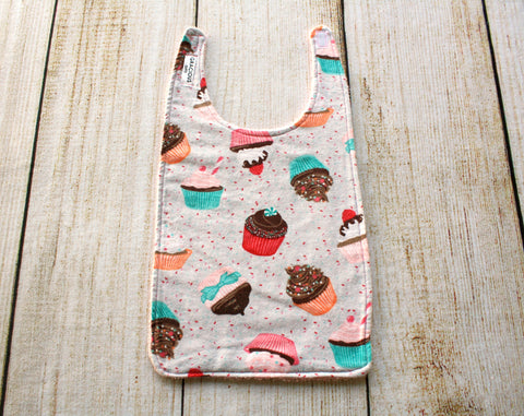 Cupcakes Grey Long Bib