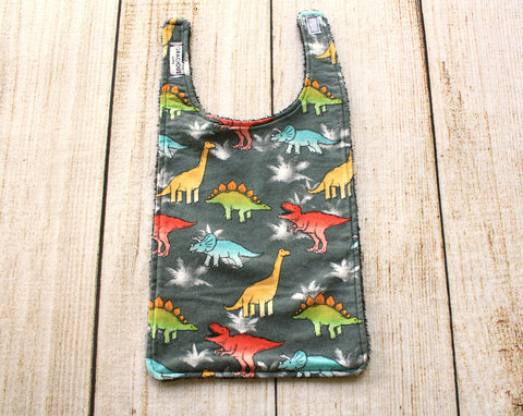Dinosaur Grey Long Bib
