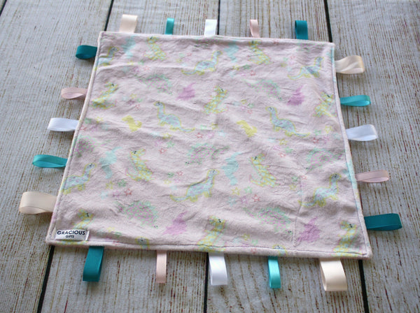 Dinosaur Pink Taggy Blanket