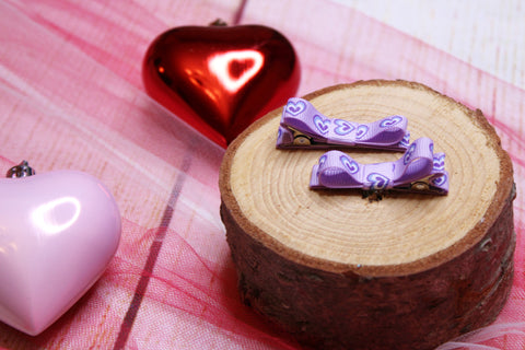 Lavender Hearts Bow Clips