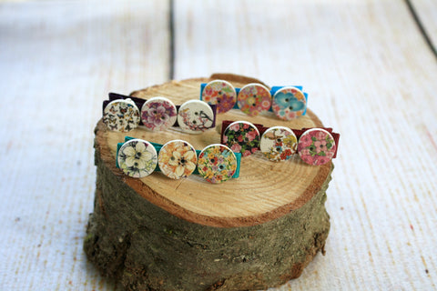 Flower Button Hair Clips