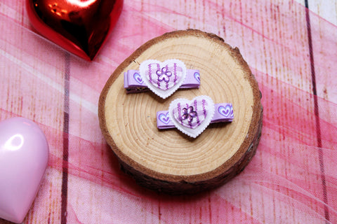 Lavender Hearts Clips