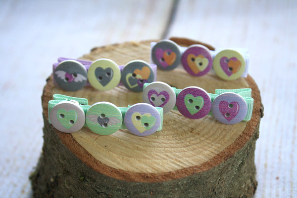 Heart Button Hair Clips
