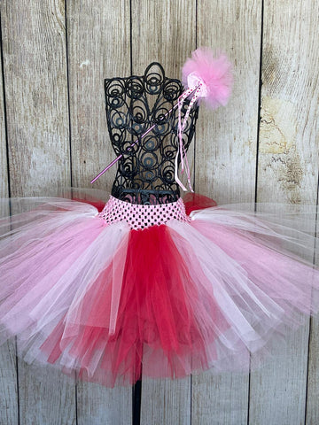 Festive Valentines Red White and Pink Tutu and Magical Wand