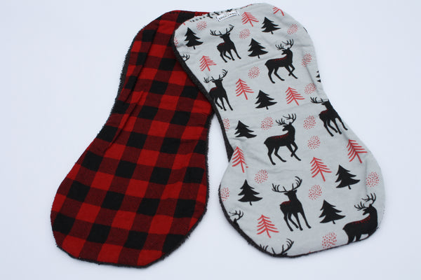 Burp Cloth Set - Buffalo Plaid/Grey Deer