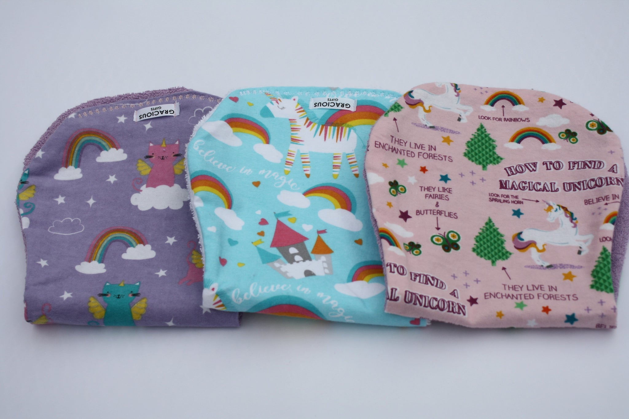 Burp Cloth Set - Unicat/Blue Unicorn/Magical