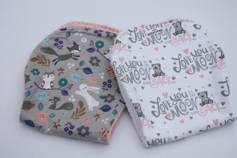 Burp Cloth Set - Girl Woodland/Moon and Back