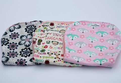 Burp Cloth Set - Flowers/Hugs/Pink Fox