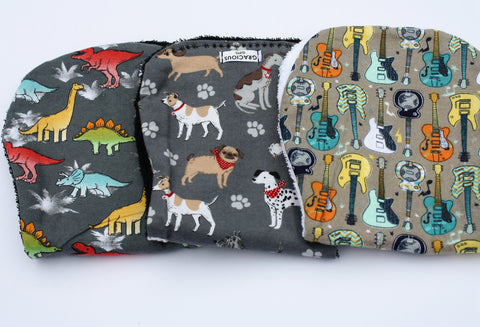Burp Cloth Set - Dino/Dog/Guitar