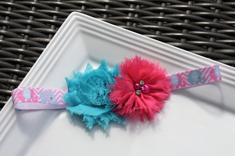 Headband - Elephants w/ Blue and Pink