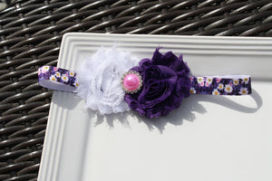 Headband - Purple Floral w/ Bling