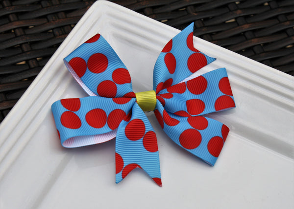 Pinwheel clip - Blue w/ Red Dots