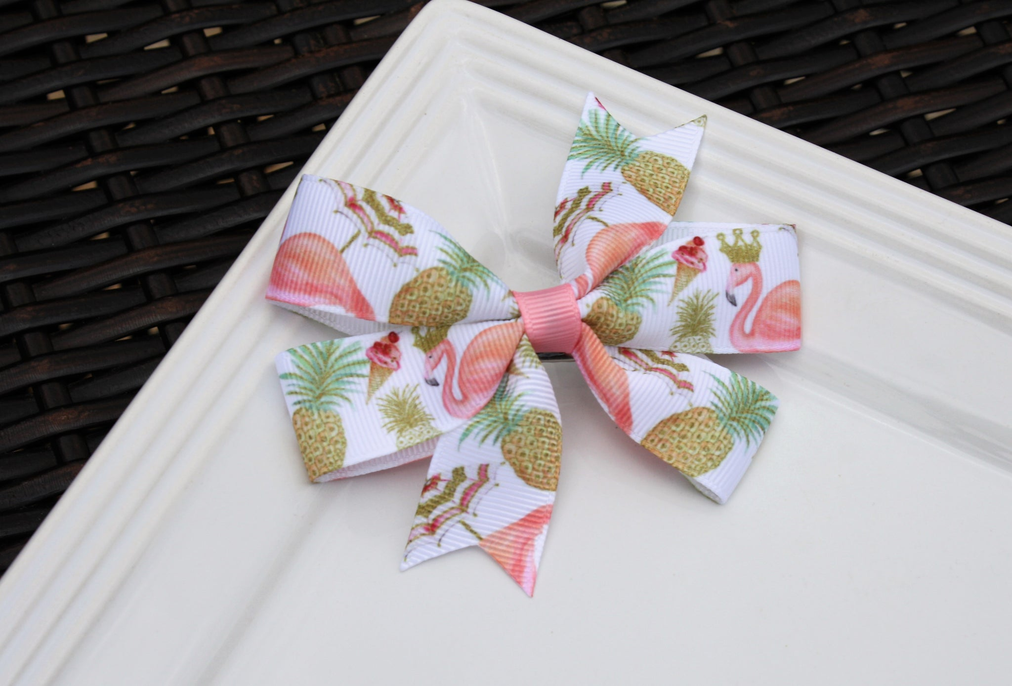 Pinwheel clip - Flamingo w/ Pineapple