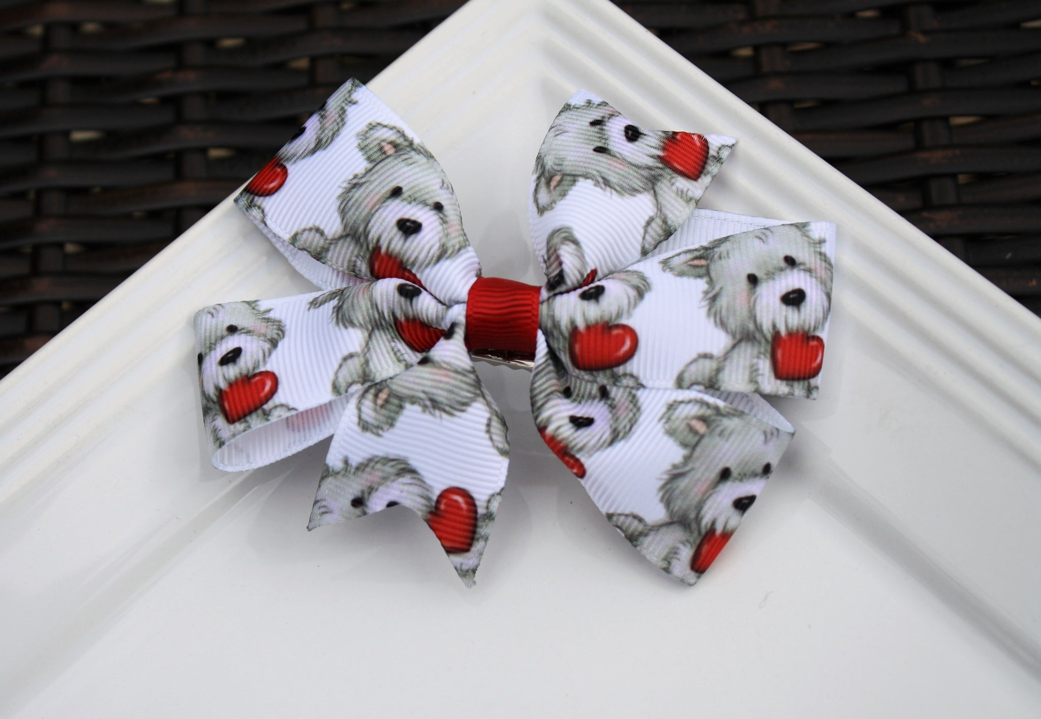 Pinwheel clip - Dog w/ Hearts