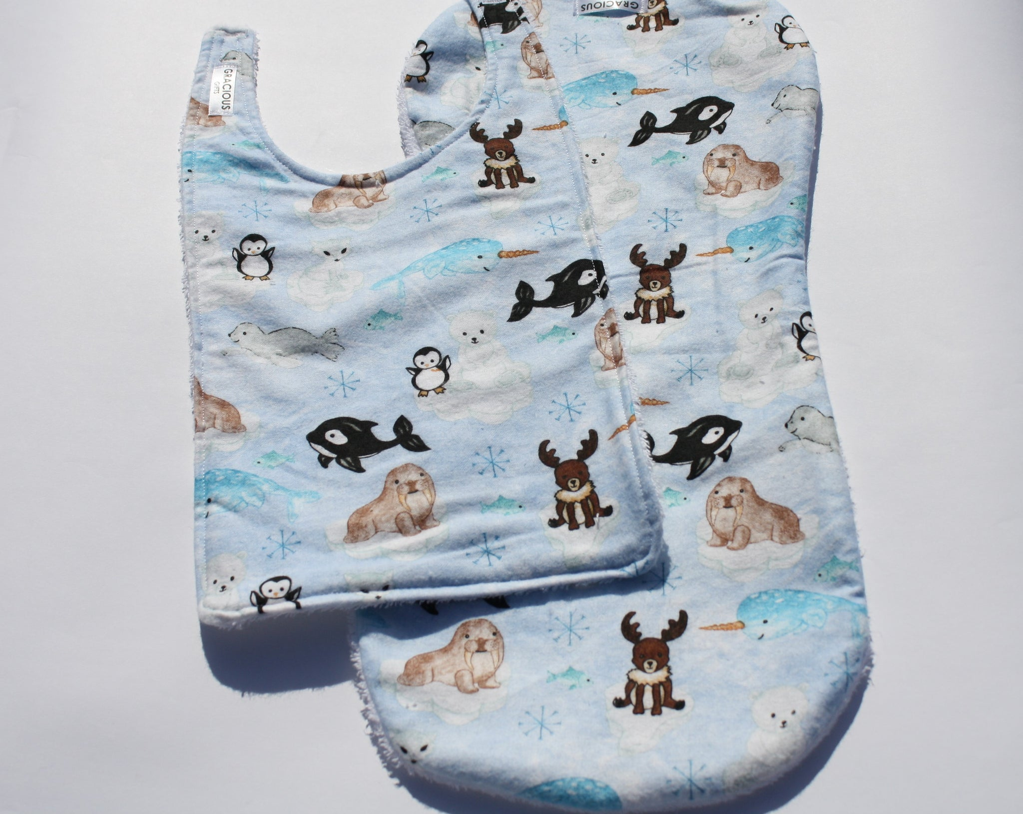 Bib and Burp Cloth - Artic Animals