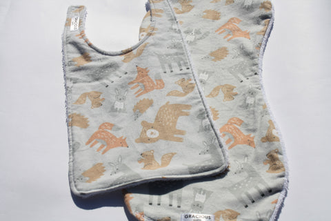 Bib and Burp Cloth - Woodland Grey