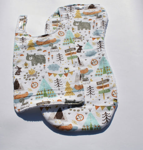 Bib and Burp Cloth - Woodland Camping