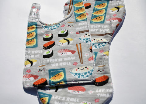 Bib and Burp Cloth - Sushi Food