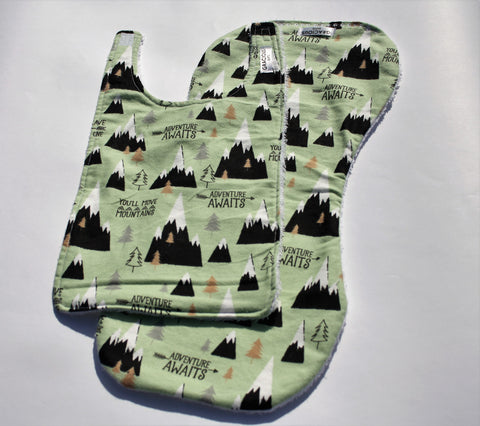 Bib and Burp Cloth - Mountains Green