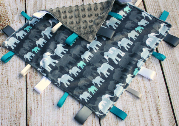 Elephant Grey Taggy Blanket