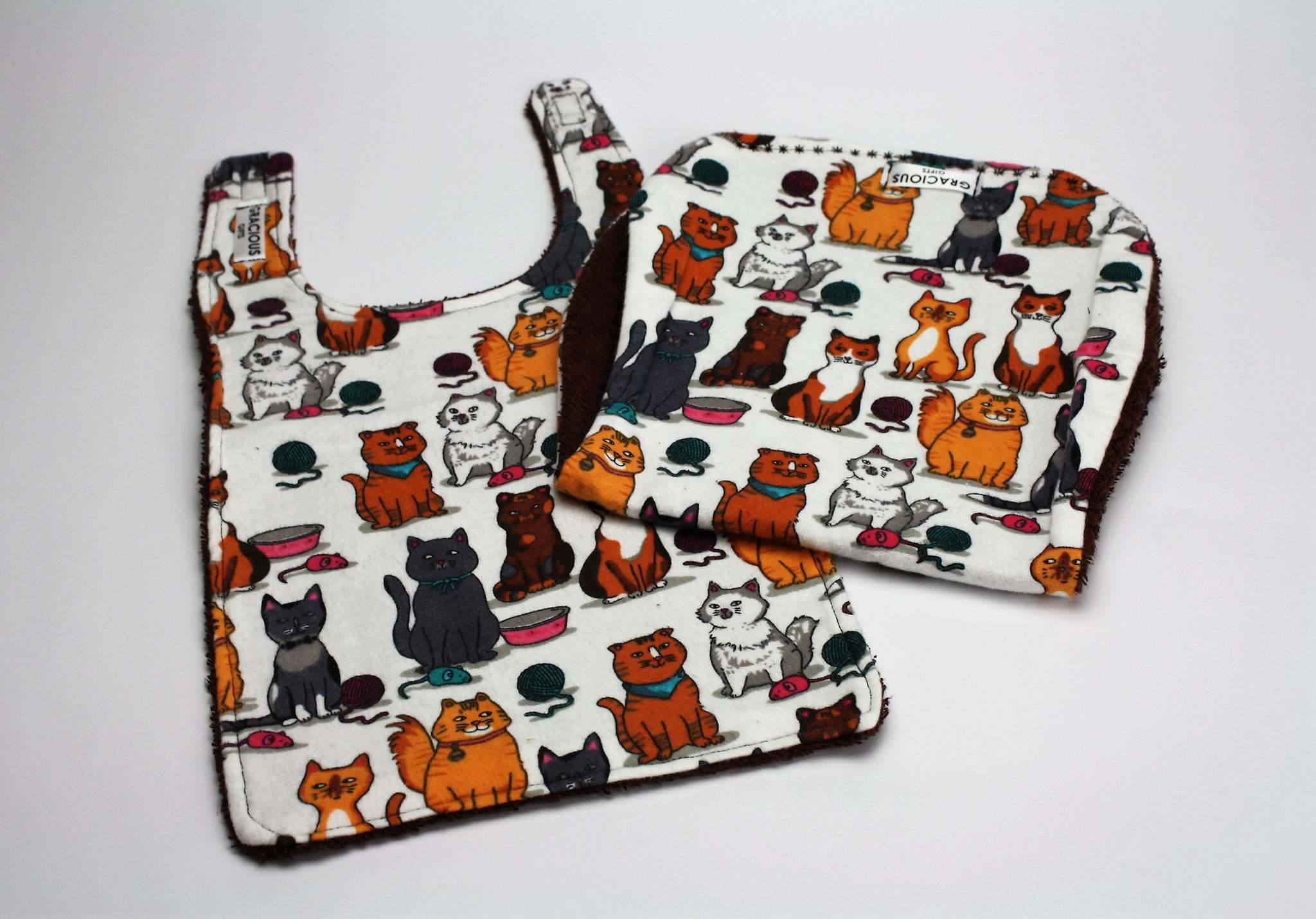 Multi Cat Bib and Burp Cloth